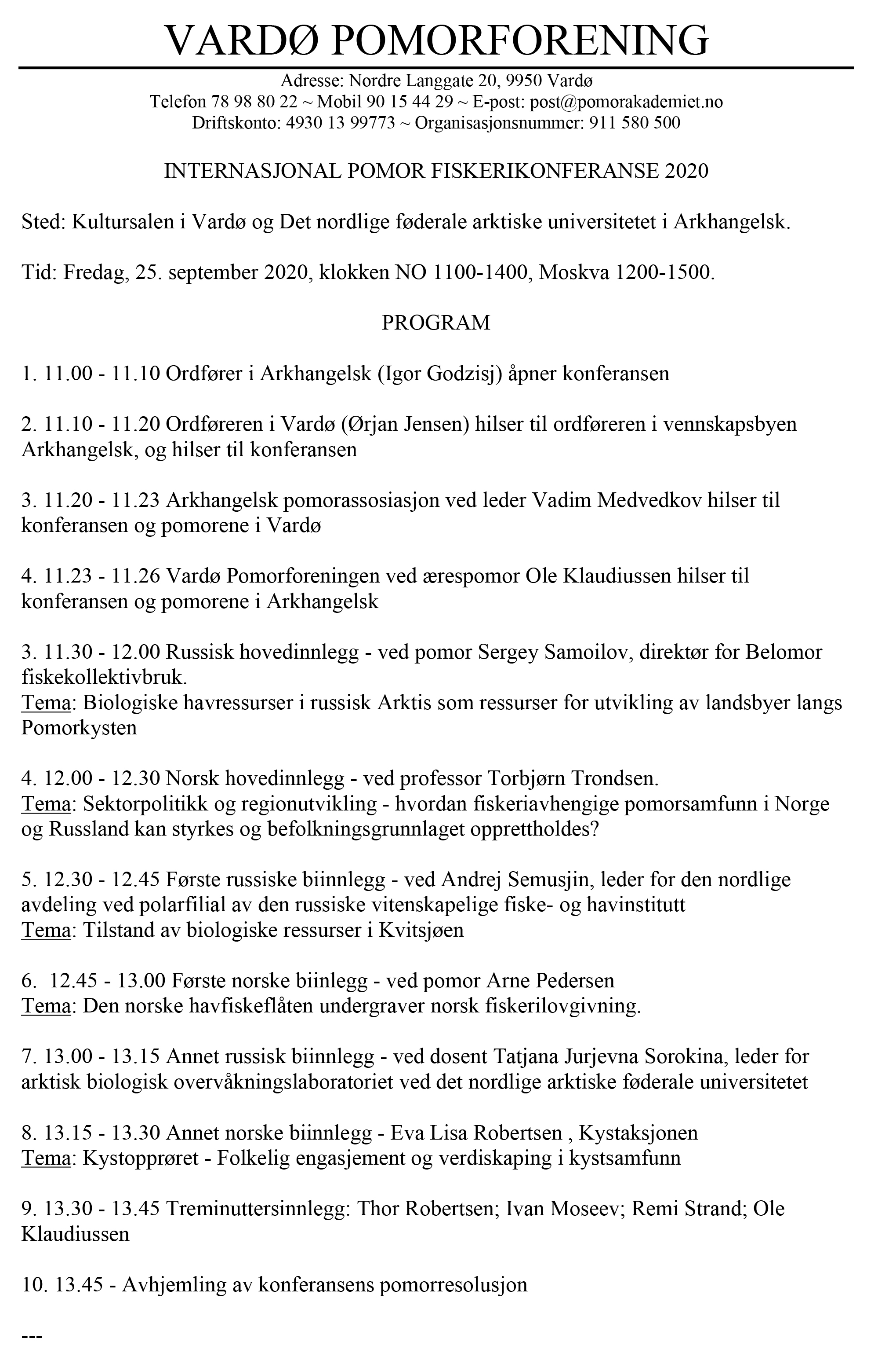 Program fiskerikonferanse